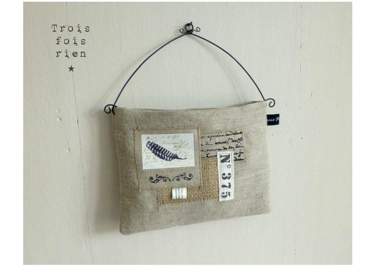 Vide poche mural tissu et fil de fer 11 photo de les vide poches muraux trois fois rien la - Vide poche mural tissu ...
