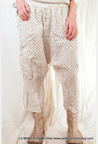 2-MP Pants french dot cotton oliana pants patches and decorative stitching Freckle