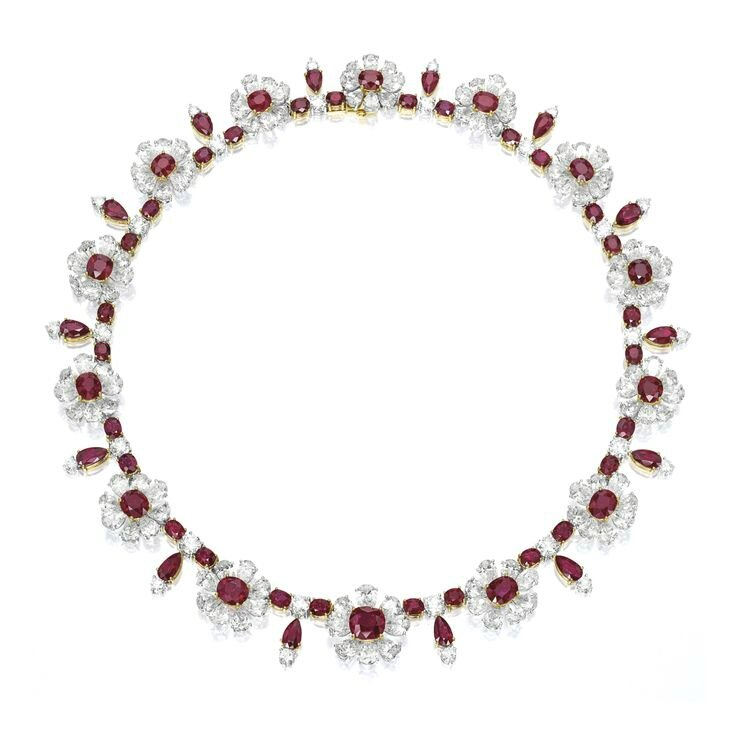 Very Fine Ruby and Diamond Necklace