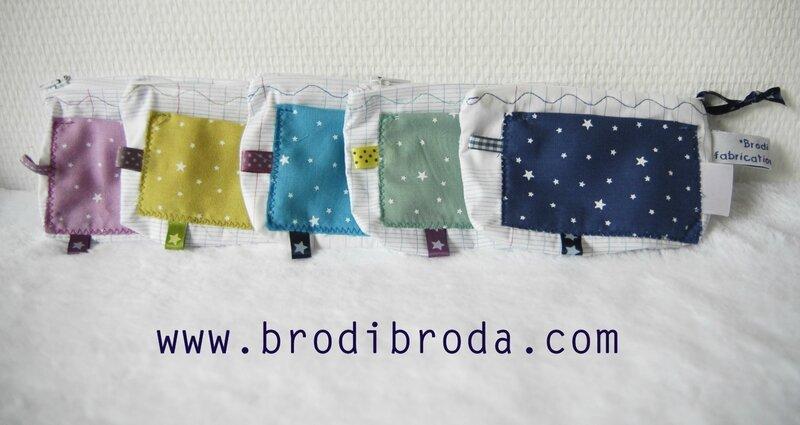 Brodi Broda-porte-monnaie prénom personnalisable-tissu étoiles
