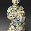 Vietnamese kneeling figure in underglaze blue. Late 15th-early 16th centuries