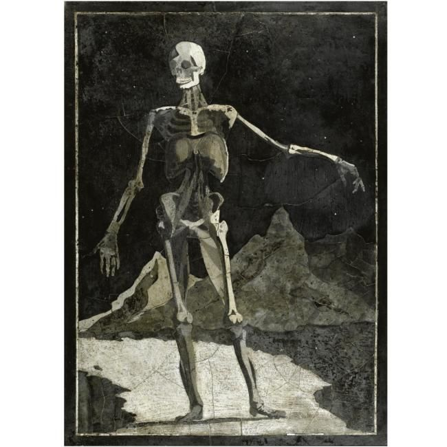 Italian, 18th century, memento mori panel with a skeleton. photo Sotheby's
