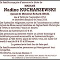 Décès de madame nadine kucharzewski de tertre.