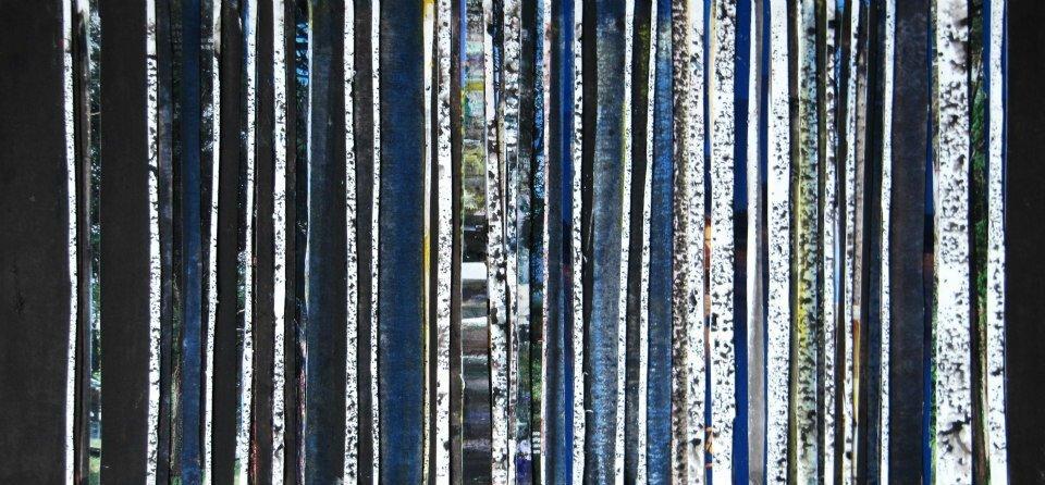 Forêt #33, 2011, acrylique, collage et coulures sur papier, 50 x 32 cm