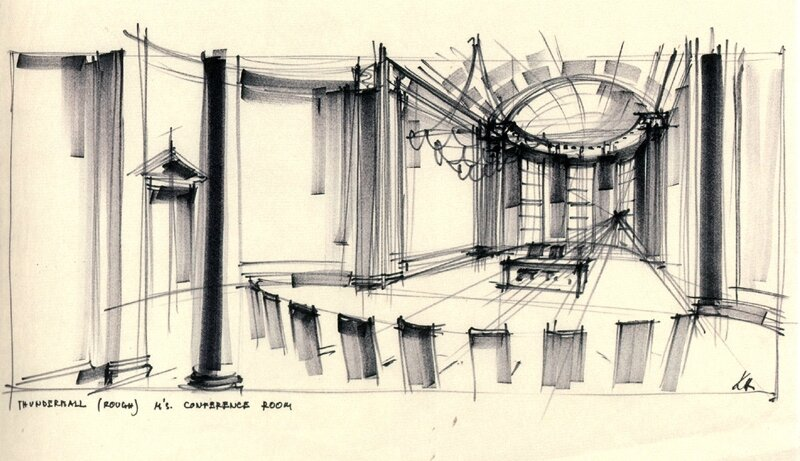 thunderball meeting room concept sketch ken adam