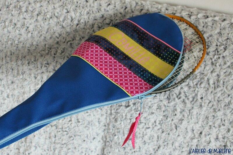 housse de raquette de badminton personnalisée rose et bleu 2