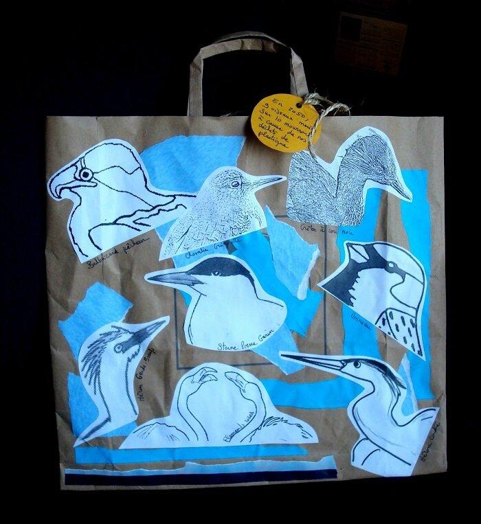 Sac en papier - décor oiseaux méditerranéens
