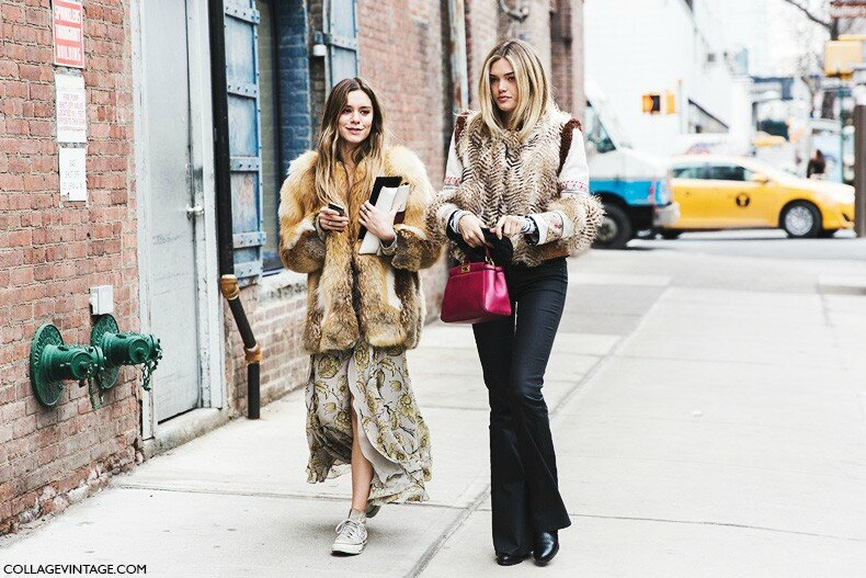 New_York_Fashion_Week-Fall_Winter_2015-Street_Style-NYFW-Friends-Fur_Coat