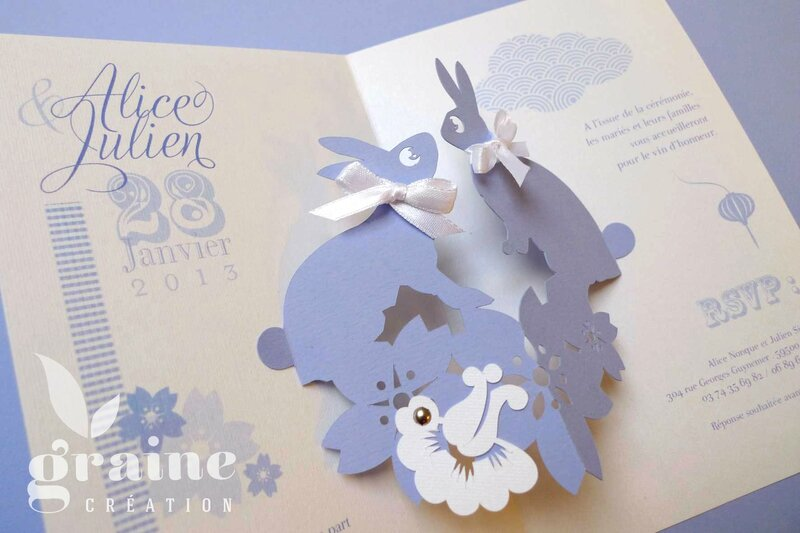 Faire-part Pop-up lapin