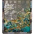 Peinture sur miroir fixée sous verre et son cadre enzitan, chine, dynastie qing, fin du xviiième - début du xixème siècle
