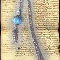 Marque-page lampwoork turquoise et poisson argent (N)