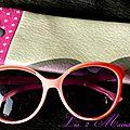 étui à lunettes en simili cuir argenté et coton fuchsia étoilé