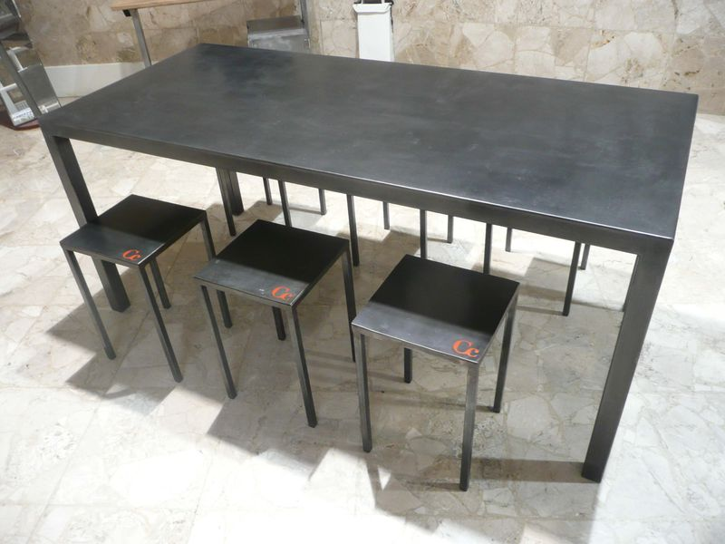 Table en m tal finition poxy anthracite 1900x1000x75 for Table verre et metal