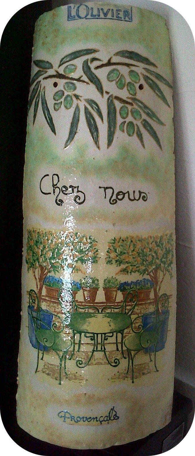 Tuile décorée style provençal