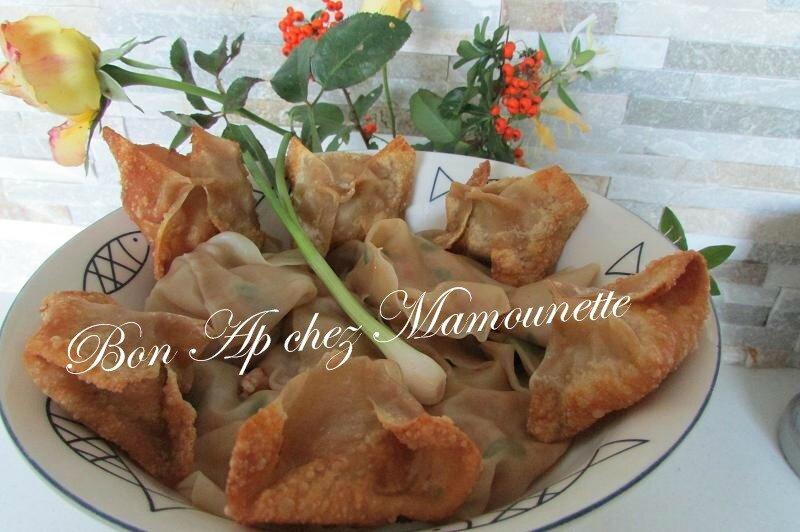raviolis chinois aux crevettes et ciboule frits et cuits à l'eau 023