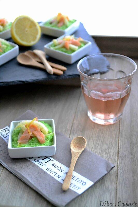 tapas saumon fenouil marine citron creme petits pois amandes IG bas battle food
