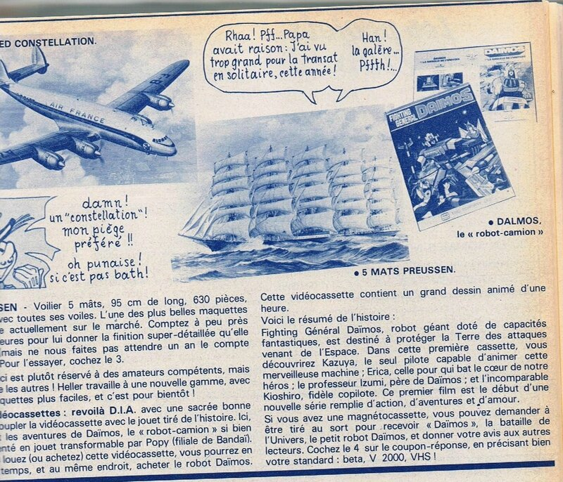 La page concours pour Daimos (février 1983)