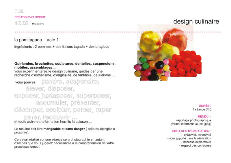 Epf design culinaire le blog des 1aa2 for Article culinaire