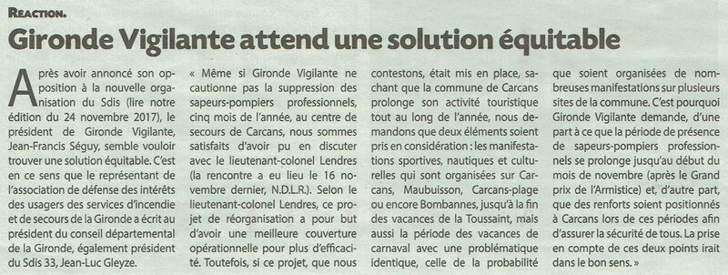 2018 12 08 JDM Gironde Vigilante attend une solution équitable