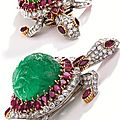 Platinum, 18 karat gold, carved emerald, ruby and diamond brooch, cartier, paris