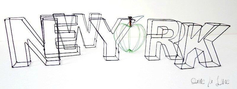 a- Ecrire New York en fil de fer