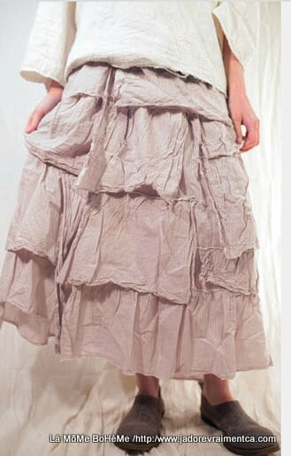 5-MP Skirt Voile wrap around Zella Skirt with ruffles in dove rose