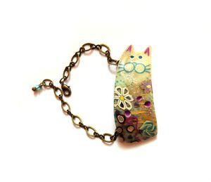 Bracelet chat bleu