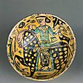 Bowl with horseman, iran, nishapur, 10th century