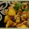 Crumble poulet-pommes-raisins-curry-avoine