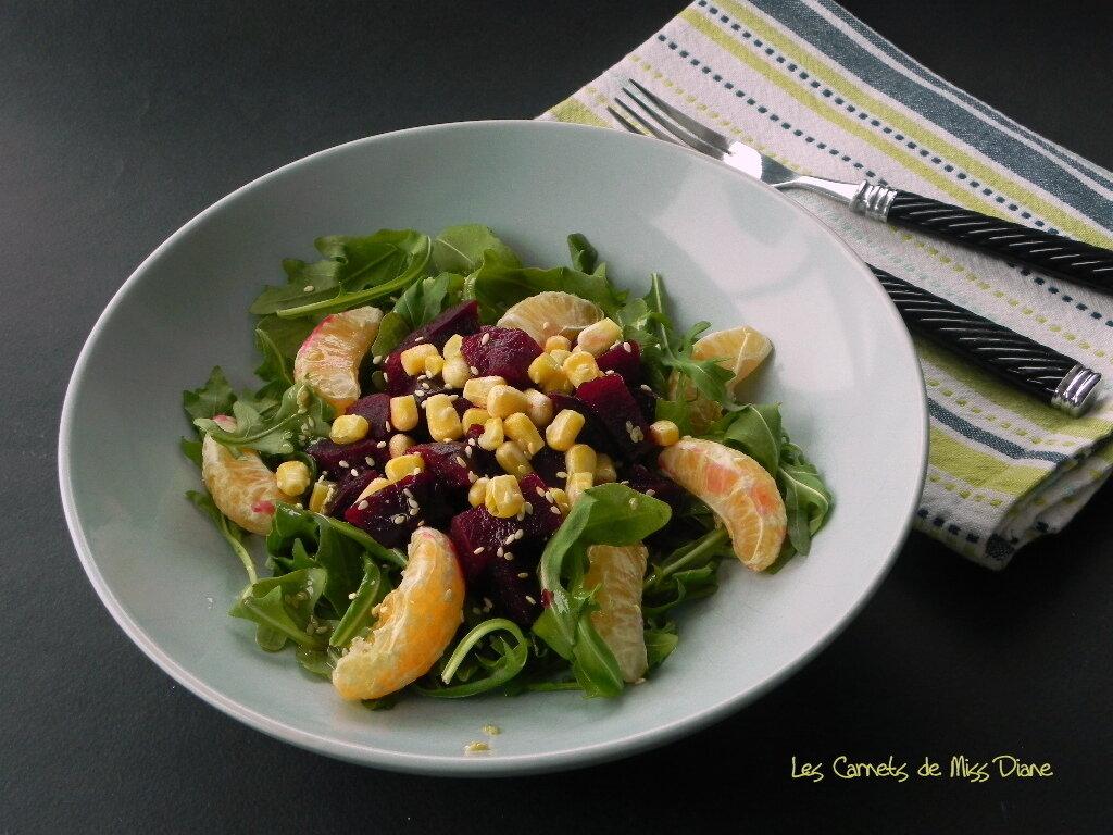 Salade de roquette, betteraves et clémentines, sans gluten et sans lactose
