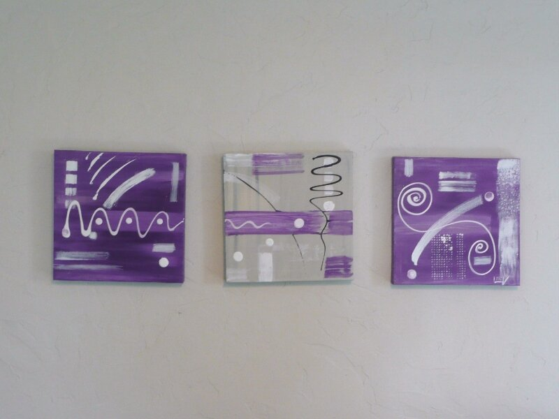 Tableau contemporain triptyque le violet et son double for Tableau art contemporain design decoration
