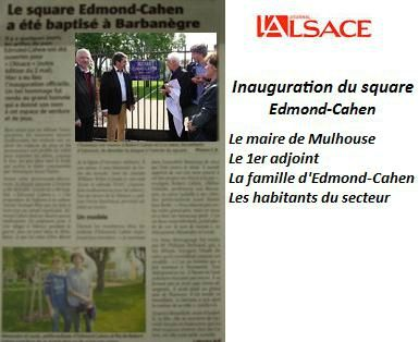 Journal L'Alsace Inauguration du square Edmond-Cahen
