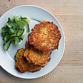 Galettes de quinoa carotte/sésame & tagliatelles de courgette
