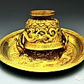 Gold pieces, song dynasty, excavated in yang jia chi's tomb, guizhou, china in 2014