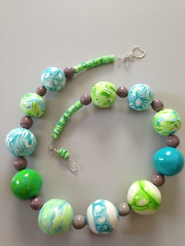 blue and green polymer clay beads and sterling silver clasp choker