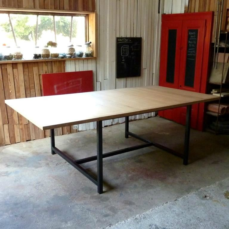 Table 120x120 rallonges 50x120 x2 table g ante 120x220 - Table industrielle rallonge ...