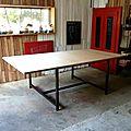 Table 120x120 + rallonges 50x120 x2 = table géante 120x220...