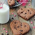 Cookies tout chocolat #vegan #saint-valentin