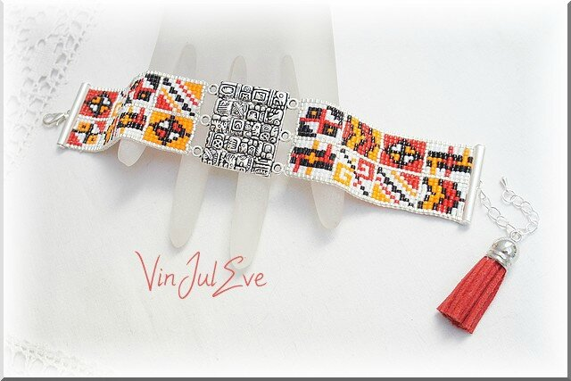 bracelet loom plaque incas rouge orange blanc noir