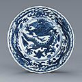 A blue and white 'dragon' saucer, mark and period of wanli