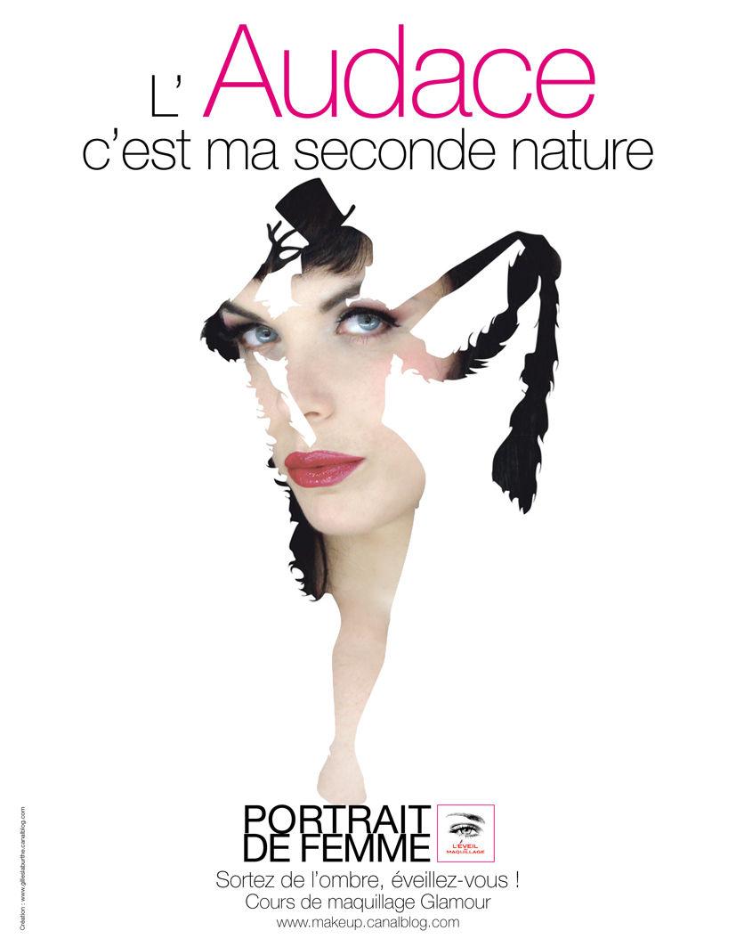 Audace© Campagne Glamour 2012 Création © Gilles Laburthe pour L'ÉVEIL AU MAQUILLAGE®
