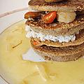 Mille-feuille de ble noir aux saint-jacques et au crabe beurre safrane