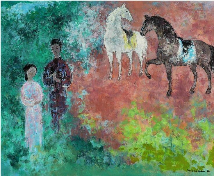 Vũ Cao Đàm (1908-2000), La rencontre (The meeting), 1984