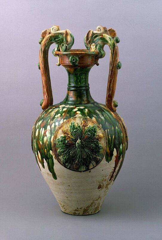 Three-color glazed vase with dragon handles and applied medallions, Tang Dynasty, 8th century