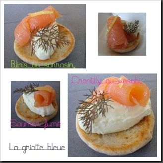 blinis sarrasin, chantilly wasabi, saumon fumé copie