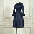 Christian dior haute couture n°24394, automne-hiver 1952. robe longue en mousseline noir