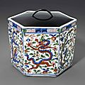 Awucaihexagonal'dragon' box, Wanli six-character mark within a double circle and of the period (1573-1619)