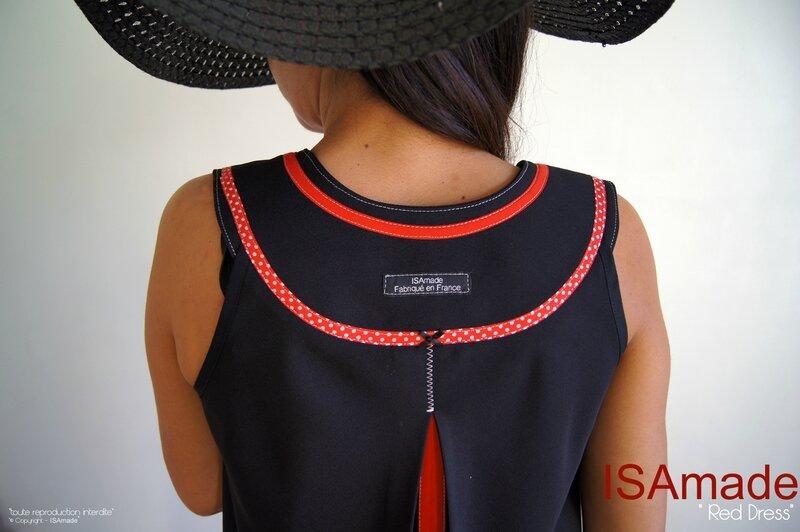 MOD 387C Robe trapèze Chasuble Noir Rouge Graphique Pois Géométrique Pop Art
