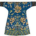 A blue-ground embroidered dragon robe, jifu. Qing dynasty, 19th century