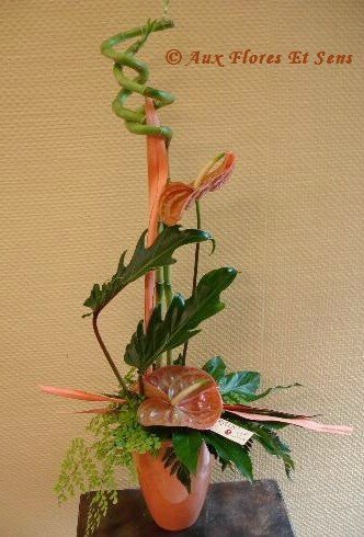 Composition moderne Lucky Bambou, Xanadu, Anthurium